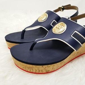 0e3bad7f3b5 Tommy Hilfiger Shoes - Tommy Hilfiger Navy Blue Gelia Wedge Sandals Sz 11